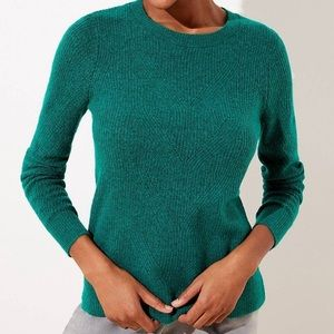 LOFT NWT Green Pointelle Ribbed Sweater S